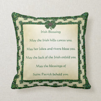 St. Patrick's Sparkly Shamrocks Irish Blessing Throw Pillow