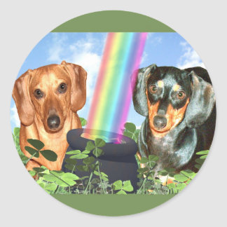 St Patricts Day Doxies Classic Round Sticker