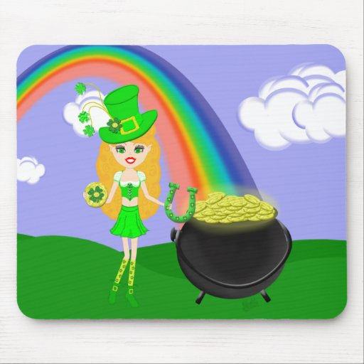 St Pat's Day Blonde Girl Leprechaun with Rainbow Mouse Pads