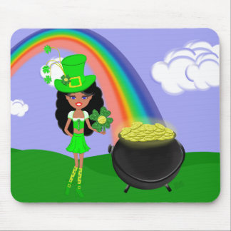 St Pat's Day Brunette Girl Leprechaun with Rainbow Mouse Pad