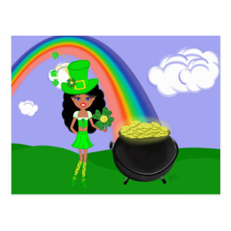 St Pat's Day Brunette Girl Leprechaun with Rainbow Postcard