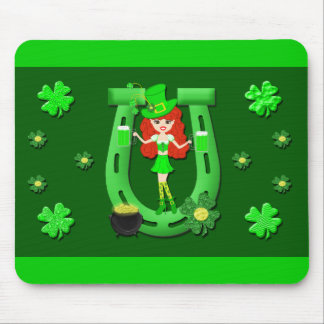 St Pat's Day Redhead Girl Leprechaun Mouse Pad