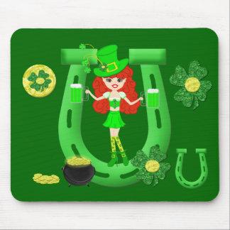 St Pat's Day Redhead Girl Leprechaun Mouse Pad