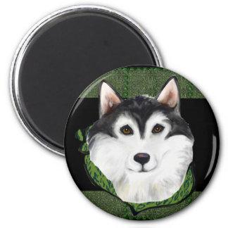 ST PATTY  Alaskan Malamute 2 Inch Round Magnet