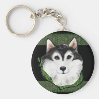 ST PATTY  Alaskan Malamute Basic Round Button Keychain