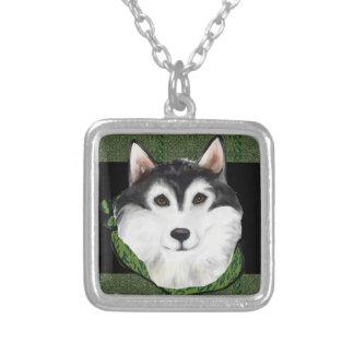 ST PATTY  Alaskan Malamute Silver Plated Necklace