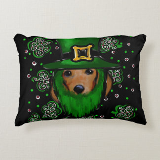 St. Patty Doxie Art Design Accent Pillow