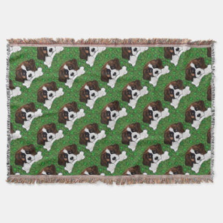 St Patty Saint Bernard Throw Blanket