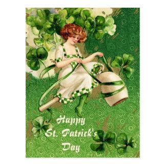 St. Patty's Day Girl Vintage Postcard