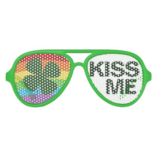 St. Patty's Day Sunglasses- Rainbow Clover Kiss Me Aviator Sunglasses
