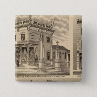St. Paul, Minneapolis, Minnesota Lithograph Map 2 Inch Square Button