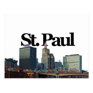 St. Paul, Minnisota Skyline w/ St. Paul in the Sky Postcard