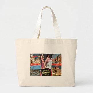St. Pauli by Night, Hamburg, Germany Vintage Large Tote Bag