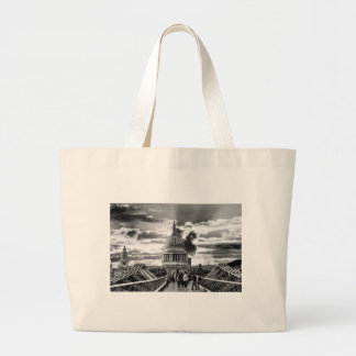 St Paul's Cathedral, London - Black and White Jumbo Tote Bag