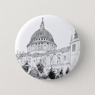 St Paul's Cathedral pen and ink drawing 2 Inch Round Button