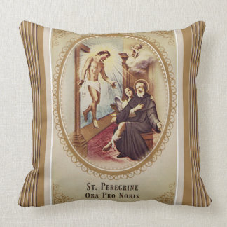 St. Peregrine Patron Saint of Cancer Jesus Cross Throw Pillow