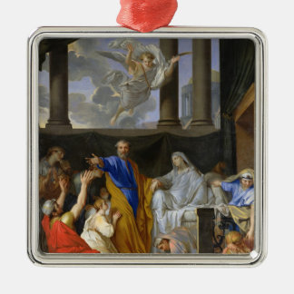 St. Peter Resurrecting the Widow Tabitha, 1652 Silver-Colored Square Ornament