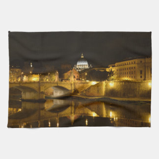 St. Peters Basilica in Vatican City at Night Kitchen Towel