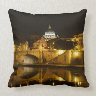 St. Peters Basilica in Vatican City at Night Throw Pillow