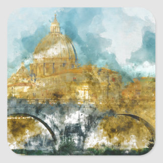 St. Peter's in Vatican City Rome Italy Square Sticker