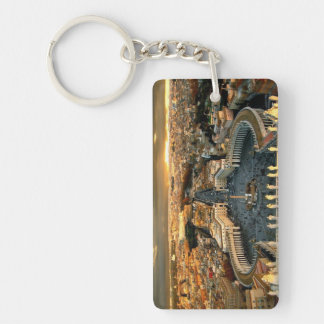 St Peter's Square Vatican Double-Sided Rectangular Acrylic Keychain