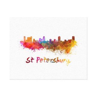 St Petersburg FL skyline in watercolor Canvas Print