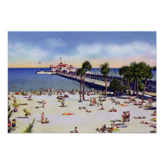 St. Petersburg Florida Spa Beach and Municipal Pie Poster