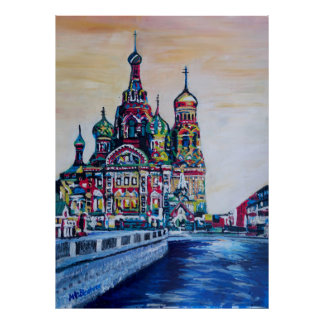 St Petersburg With Church Of The Savior On Blood Poster