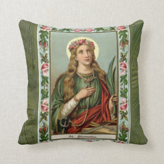 St. Philomena Pink Roses Green Palm Throw Pillow