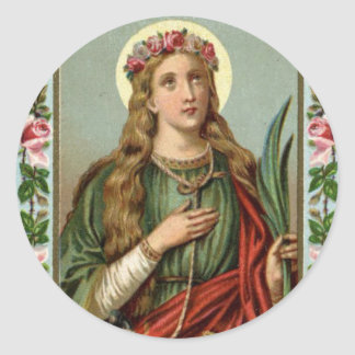 St. Philomena Pink Roses Palm Cord Classic Round Sticker