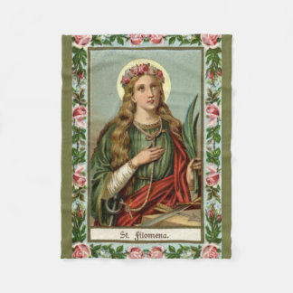 St. Philomena Pink Roses Palm Cord Fleece Blanket