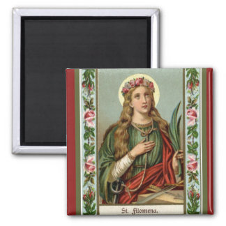 St. Philomena Pink Roses Palm Cord Magnet