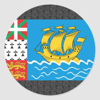St Pierre And Miquelon Flag Round Sticker