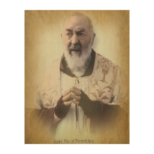 ST PIO OF PIETRELCINA WOOD WALL ART