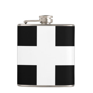 St. Piran's flag / flag of Cornwall Hip Flask