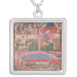 St. Radegund  at the table of Clothar I Silver Plated Necklace