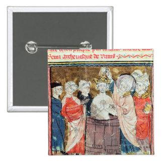 St. Remigius, Bishop of Rheims  baptising 2 Inch Square Button