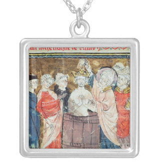 St. Remigius, Bishop of Rheims  baptising Silver Plated Necklace