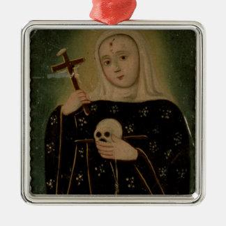 St. Rita de Casia Silver-Colored Square Ornament