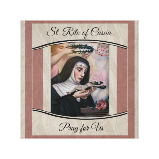 St. Rita of Cascia Thorns Roses Crucifix Canvas Print