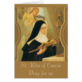 St. Rita of Cascia w/Crown of Thorns Angel Card