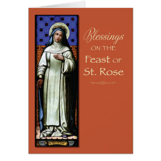 St. Rose of Lima Patron Saint Feast Day Blessings Card