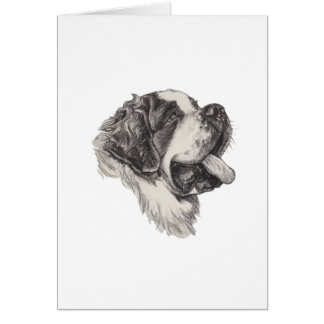 St Saint Bernard Dog Charcoal Art Drawing Card