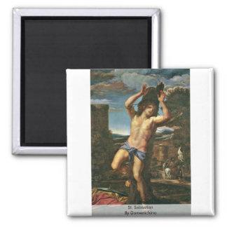 St. Sebastian By Domenichino Square Magnet