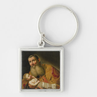 St. Simeon Presenting the Infant Christ Silver-Colored Square Keychain