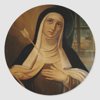 St. Teresa of Avila Carmelite Nun Arrow Round Sticker