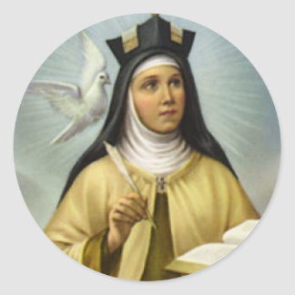 St. Teresa of Avila Carmelite Nun Dove Feather Classic Round Sticker