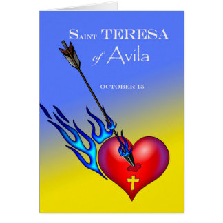 St. Teresa of Avila Feast Day, Heart and Arrow Card