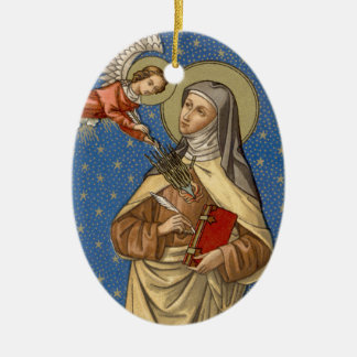 St. Teresa of Avila (SAU 28) Blank/DIY Back Oval Ceramic Ornament