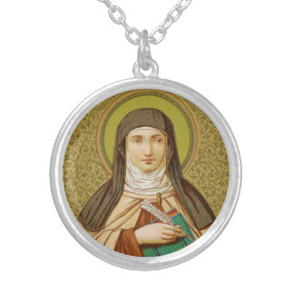 St. Teresa of Avila (SNV 27) Round Silver Plated Necklace